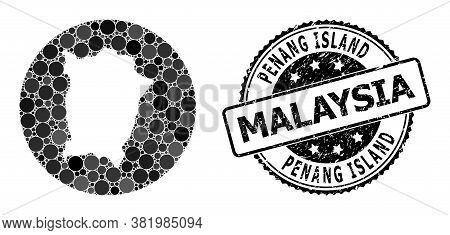 Vector Mosaic Penang Island Map With Round Blots, And Grey Grunge Stamp. Subtraction Round Penang Is