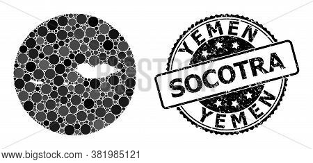 Vector Mosaic Socotra Archipelago Map With Circle Spots, And Grey Watermark Seal. Subtraction Circle