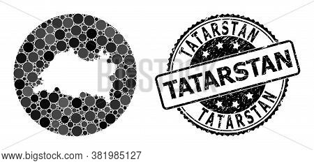 Vector Mosaic Tatarstan Map With Circle Blots, And Grey Scratched Seal Stamp. Stencil Round Tatarsta