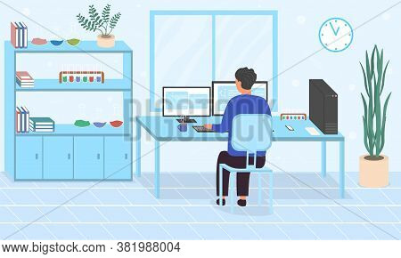 Man Doing Online Research Or Inputting Research Data Working At Computers In An Office. Flat Vector