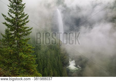 Helmcken Falls With Fog, Wells Gray Provincial Park, British Columbia, Canada. It Is Fourth Largest