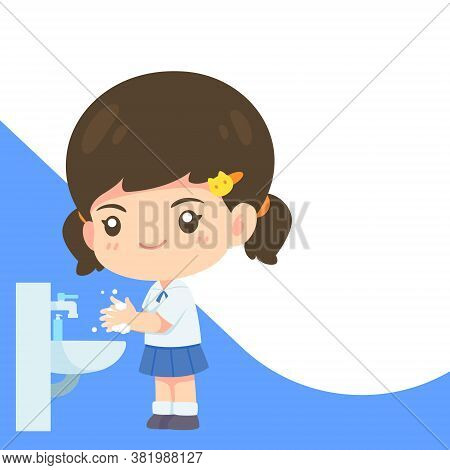 Cute Girl In Student Uniform Washing Hand