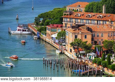 View Of Giudecca Island In Venice, Italy. Venice Is Situated Across A Group Of 117 Small Islands Tha