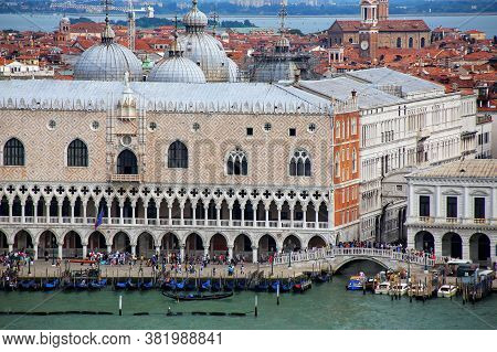 Palazzo Ducale At Piazza San Marco In Venice, Italy. The Palace Was The Residence Of The Doge Of Ven