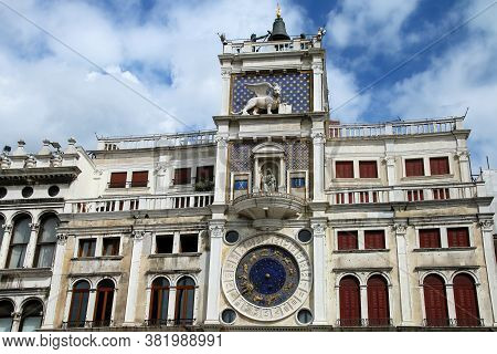 The Clock Tower On Piazza Di San Marco In Venice, Italy. Clock Was Designed By Zuan Paolo Rainieri A