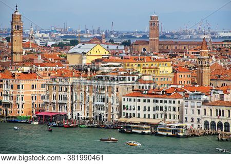 Buildings Along Grand Canal In Venice, Italy. Venice Is One Of The Most Important Tourist Destinatio