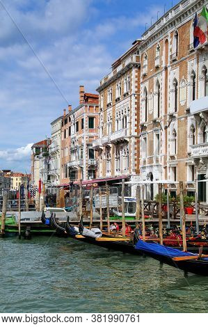 Houses Along Grand Canal In Venice, Italy. Venice Is Situated Across A Group Of 117 Small Islands Th