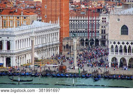 Piazzetta San Marco With Palazzo Ducale And St Mark's Campanile In Venice, Italy. Venice Is One Of T