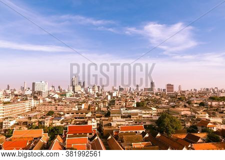 Aerial View Of Bangkok, Bangkok City Downtown With Clear Sky, Saw The Small Buildings And The Tall B