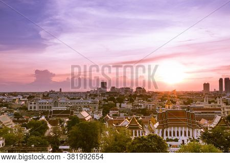 Aerial View Of Bangkok, Bangkok City Downtown With Sunset Sky, Saw The Small Buildings And The Tall