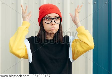 Surprised Millennial Hipster Girl Feeling Mind Blown