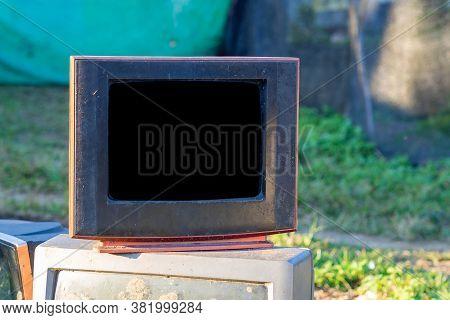 Old Abandoned Television. Broken Old Analog 90's Television Tv.