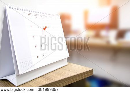 A Red Color Pin On Blank Calendar Concept Of Template For Events Planner Is Busy Or Planning For Bus