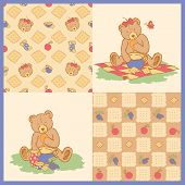 Drawn teddy bear with honey bowl - seamless pattern, isolated pattern, vector illustration poster