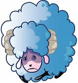 sad blue sheep with horns (Vector illustration) poster