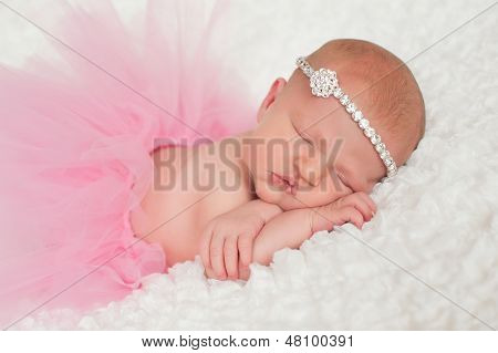 Newborn Baby Girl In Pink Tutu