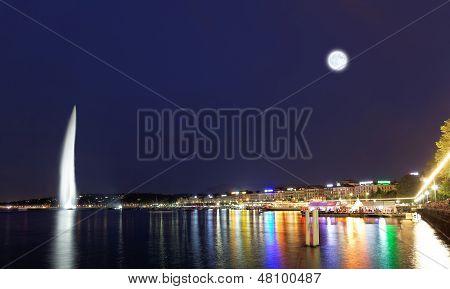 Geneva Water Jet On Lake Leman At Night