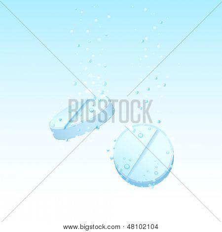 illustration of pills dissolving in water
