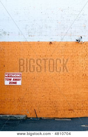 Brick Wall With Security Camera