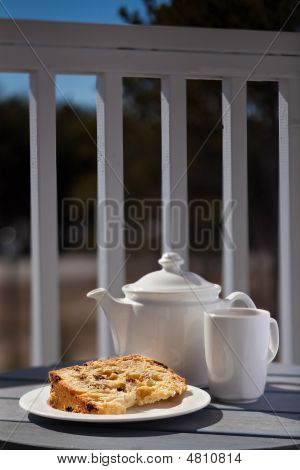 Dessert On A Patio - Fruitcake With Tea