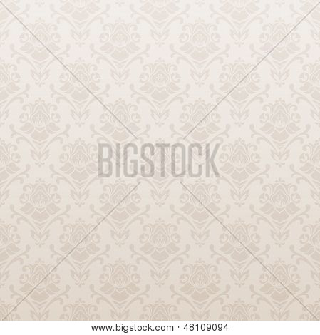 Beige seamless vector background with floral pattern (tracery). Old wallpaper. Vector illustration
