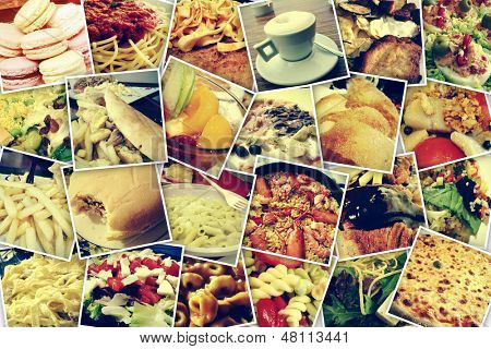 mosaic with pictures of different meals and dishes, shooted by myself, simulating a wall of snapshots uploaded to social networking services poster