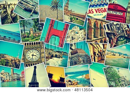 mosaico con fotos de diferentes lugares y monumentos históricos, rodados por mi misma, simulando una pared de snap