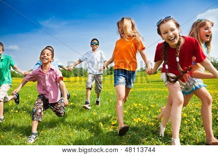 Group Of Running Kids
