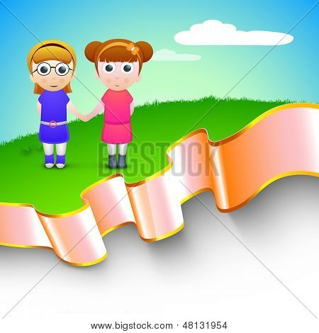 Happy friendship day concept with illustration of cute little girls holding hands on nature background. poster