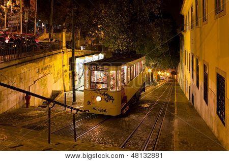 Lisbon Gloria Funicular Night Shot