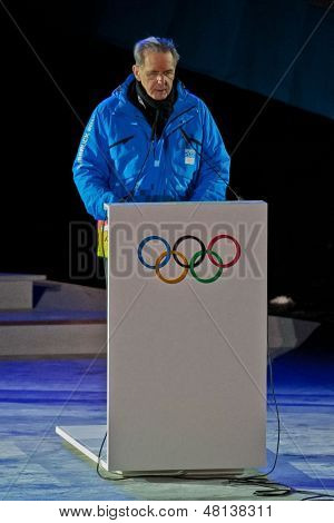 INNSBRUCK, AUSTRIA - JANUARY 13 Jacques Rogge gives a speech during the opening ceremony at the Bergisel stadium on January 13, 2012 in Innsbruck, Austria.