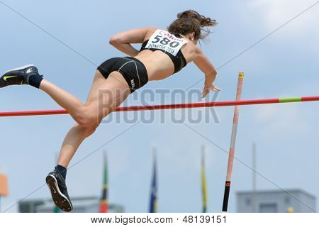 DONETSK, UKRAINE - JULY 11: Eliza McCartney of New Zealand competes in Pole Vault during 8th IAAF World Youth Championships in Donetsk, Ukraine on July 11, 2013