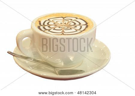 Cup Of Cappuccino Isolate On White Background
