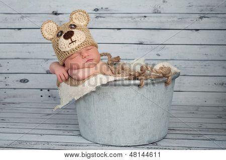 Newborn Baby Boy In A Teaddy Bear Costume