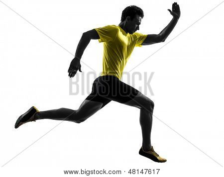 one caucasian man young sprinter runner running  in silhouette studio  on white background poster