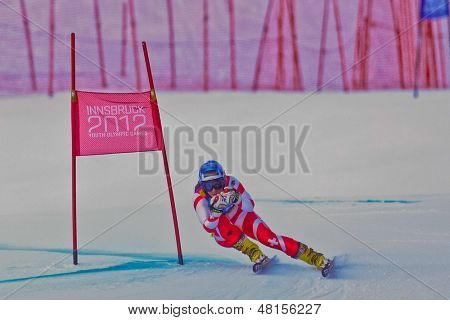 YOG 2012, Youth Olympic Games 2012, Innsbruck, Jasmina Suter (Switzerland) places 7th in the Super-G of the Ladies' Super Combined on January 15, 2012 in Patscherkofel, Austria.