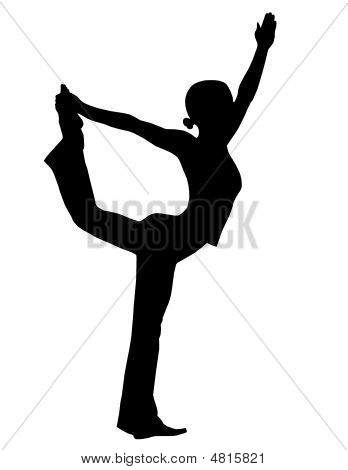 illustration of s yoga silhouette on white background poster