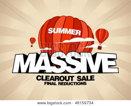 Massive summer sale design template with balloons carrying shopping bags