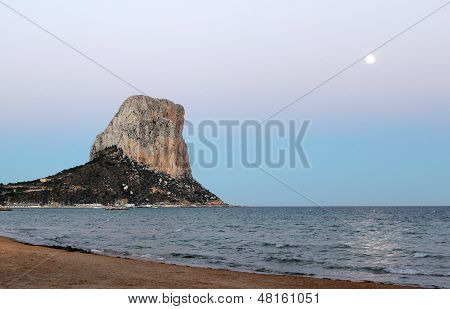 View Over Calp Beach And Famous Natural Park Of Pe��n De Ifach (spain).