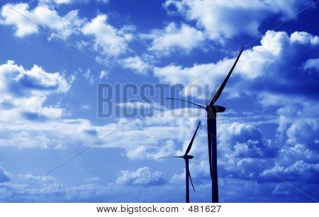 Wind Turbines Blue Tint