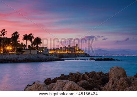 Seascape of Antibes at Sunset Provence France poster