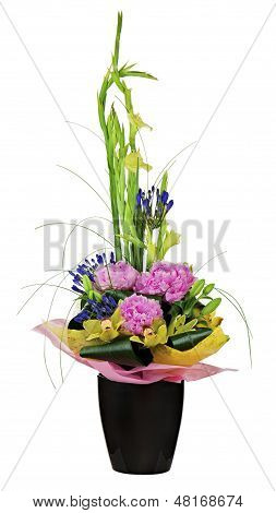 Floral Bouquet Of Orchids, Peon Flowers And Gladiolus Arrangement Centerpiece In Vase Isolated On Wh