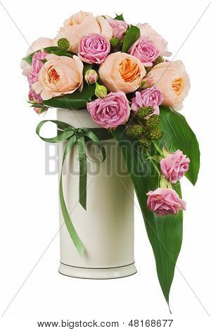 Colorful Flower Bouquet From Roses And Peon Flowers In Vase Isolated On White Background.