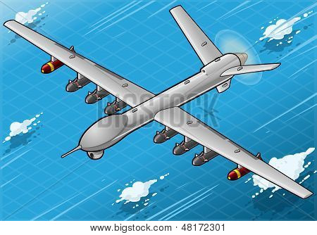 Isometric Drone Airplane Flying In Front View