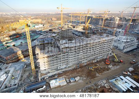 MOSCOW - NOV 23: Multi-storey buildings under construction in complex Tsaritsino, Nov 23, 2012 in Moscow, Russia. Tsaritsino District is 15 residential houses with residential area of 369600 m2.