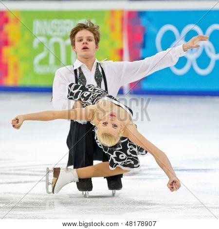 INNSBRUCK, AUSTRIA - JANUARY 17 Jana Cejkova and Alexandr Sinicyn (Czech Republic) place 7th in the pairs ice dance event on January 17, 2012 in Innsbruck, Austria.