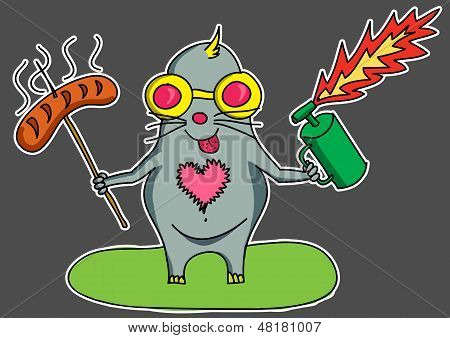 Funny mole at barbecue party with sausage and blow lamp. poster