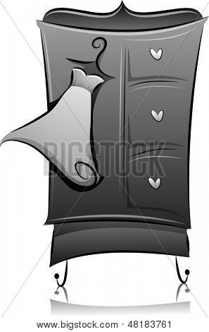 Illustration of Armoire in Black and White