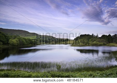 Beautiful Morning Light Over Lake Landscape In Summer
