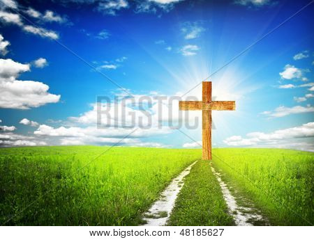 way walking towards a cross